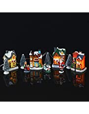 Christmas Village Sets - High Brightness LED Lighted Christmas Village Houses with Figurines, Christmas Village Collection Indoor Room Decor - Collectible Buildings