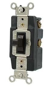 Leviton 1281 15-Amp 120-Volt Toggle Single-Pole AC Quiet Switch, Brown
