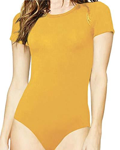 Ginger Women - MANGOPOP Women's Round Neck T Shirts Basic Bodysuits (Ginger, X-Small)