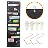 File Folder Organizer Hanging Wall, Cascading Wall Organizer, Storage Pocket Chart with 10 Large Pockets for Office, School, Home Studio, etc. 3 Hangers and 4 Hooks Bill Filing. Wall or Over Door