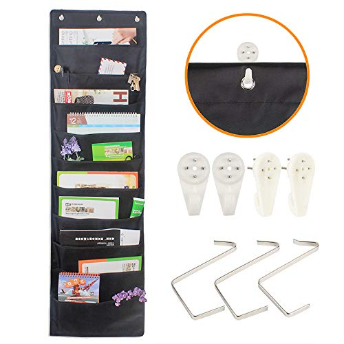 File Folder Organizer Hanging Wall, Cascading Wall Organizer, Storage Pocket Chart with 10 Large Pockets for Office, School, Home Studio, etc. 3 Hangers and 4 Hooks Bill Filing. Wall or Over Door by UNAOIWN