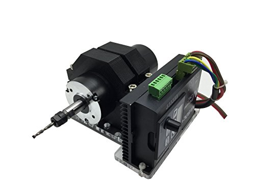 (DC Spindle Brushless Motor 400W, Aire Cooled, ER8 Collet High Precision PWM Speed Control with 48V Power Supply)