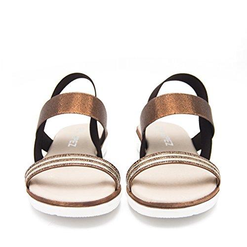 E5011001 Sandalias Con Elasticos de Piel Mujer Brandy Bronce PfPbEd36tn