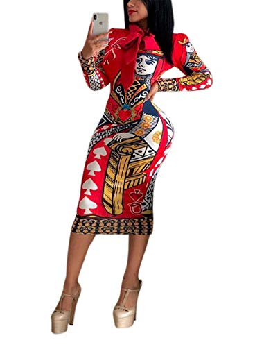 (Womens Spring Autumn Sexy Round Neck Long Sleeve Poker Printed Bandage Package Hip Party Club Sweater Clubwear Dress Red M)