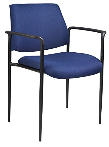 Boss Office Products B9503-BE Square Back Dimont Stacking Chair with Arms in Blue