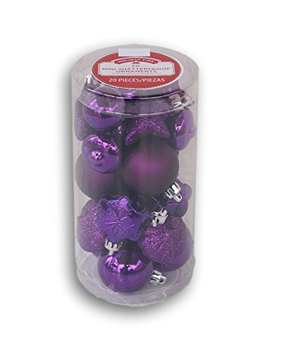 Holiday Time Miniature Christmas Tree Shatterproof Ornaments - Purple Variety - 20 Count