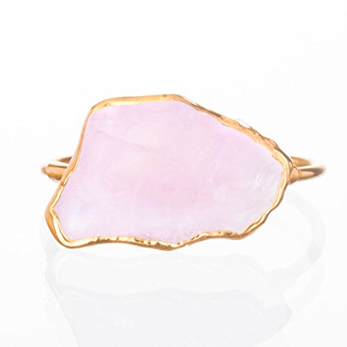 January Birthstone Ring - Rough Rose Quartz Ring, Size 7, Yellow Gold, January Birthstone