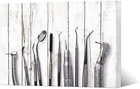 HOMEOART Dental Art Dental Equipment Medical Office Dentistry Wall Decor Framed Ready To Hang Dentist Gift 24″x36″