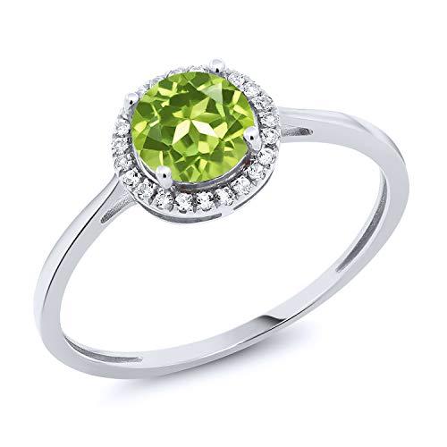 White Ring Gold Peridot - Gem Stone King 10K White Gold Green Peridot and Diamond Women's Engagement Ring 1.07 cttw (Size 9)
