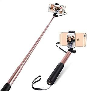 Palo Selfie con Big View Finder, Yarrashop Wire Control Selfie Stick para teléfonos inteligentes iOS y Android, p. Ej. IPhone 8/8plus /iphone x, Samsung S6/S6 Edge,S7/S7 Edge/S8/S8 Plus y así sucesivamente (Oro rosa)
