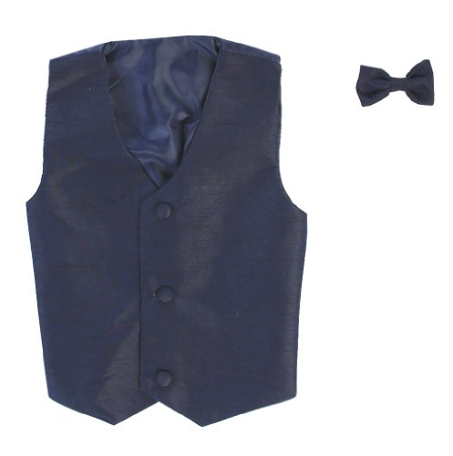 - Vest and Clip On Boy Bowtie set - NAVYBLUE - 6/7