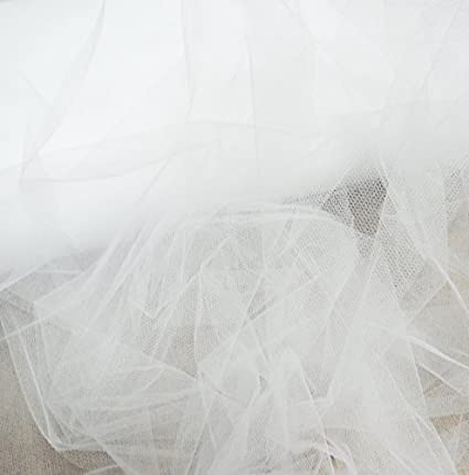 bddd44c53cf3a White bridal tulle veil fabric 300cm wide - super fine net - by the metre -  skirt pleating ruching  Amazon.co.uk  Kitchen   Home