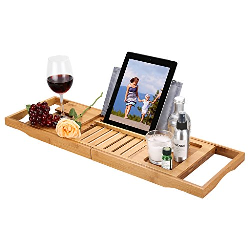 LANGRIA Bath Tray Bamboo Bathtub Caddy with Extending Sides, Mug Wineglass Smartphone Holder, Metal Frame Book Pad Tablet Holder with Waterproof Cloth, Detachable Sliding Tray, Non-Slip Rubber Base