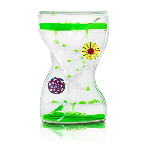 Colorful Liquid Motion Bubbler Desk Sensory Toy Timer Zig Zag Floating Rotating Circles for Play, Fidgeting, Captivating Distraction by Super Z Outlet (Swirls) -