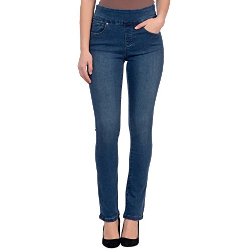 Lola Jeans Women's Rebeccah High Rise Pull On Straight Leg Stretch Denim (Medium Blue, 33/14)