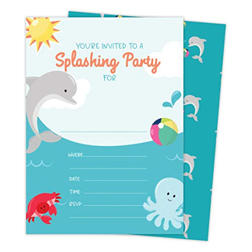 Dolphins 3 Happy Birthday Invitations Invite Cards (25 Count) With Envelopes and Seal Stickers Vinyl Girls Boys Kids Party (25ct) -