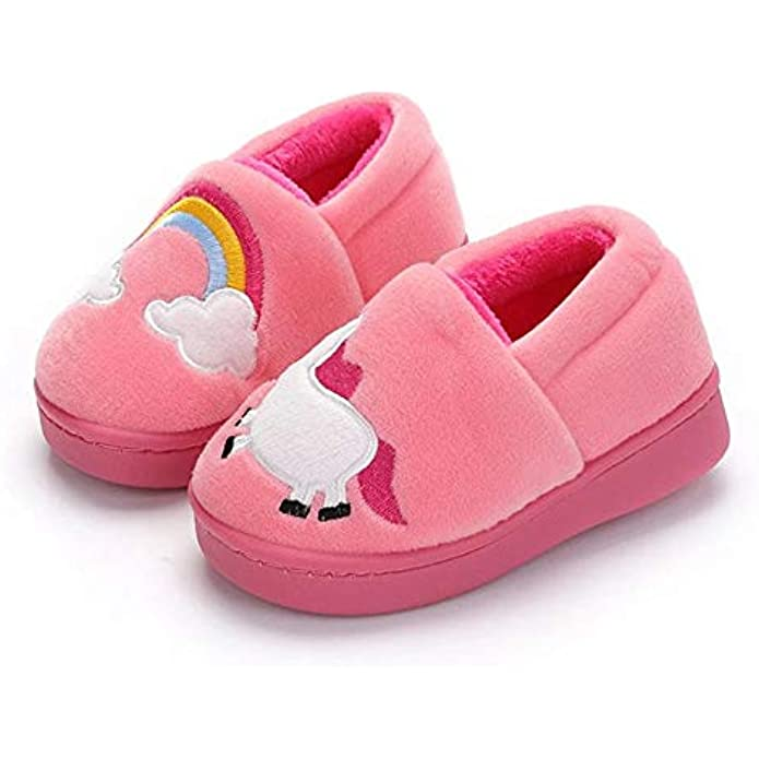 KORADI Boys Girls Warm Slippers Little Kids Soft Indoor House Shoes Winter Cartoon Slippers