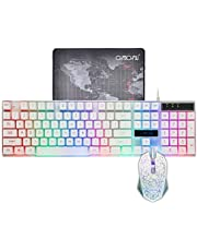 CHONCHOW LED Backlit Wired Gaming Keyboard and Mouse Combo Mechanical Feeling Rainbow Backlight Emitting Character 4800DPI Adjustable USB Mice Compatible with PC Resberry Pi iMac TDW910(White)
