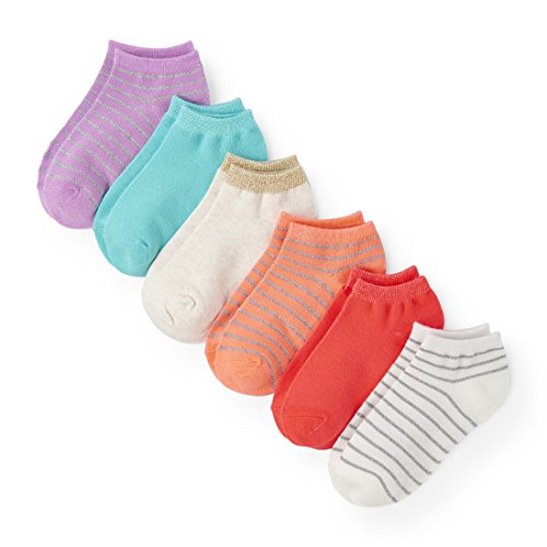 The Children's Place Baby Toddler Girls' Ankle Socks, Purple 86474 (Pack of 6), M - Purple Spandex Acrylic