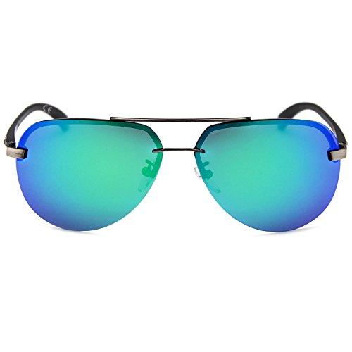 De Completo Doble Hombre Reflejado Y Lentes AMZTM Gafas REVO Mujer Montura Vistoso Sol Verde Metal Puente Aviador Polarizadas Clásico Para Moda zz7qXZ