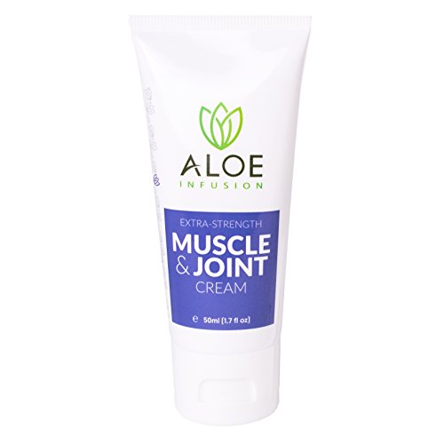 Aloe Infusion Muscle & Joint Cream - Powerful Extra Strength Pain Relief - Soothes Muscles, Joints, Stiffness, Cramps & Inflammation - Organic Aloe Vera, Glucosamine, MSM, Peppermint Extract (1.7oz)