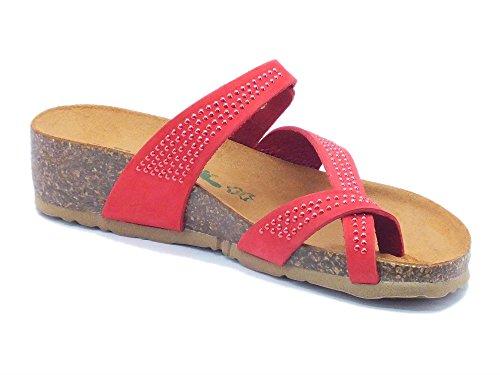 BioNatura 12 A 456 Strass Nabuk Coral - Sandalias de Piel para mujer Coral