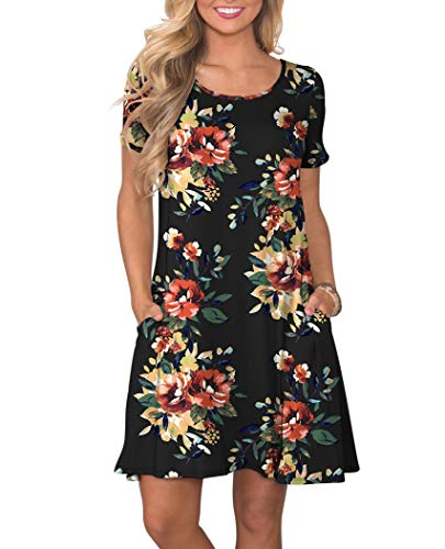 2d055cd4fdf KORSIS Women s Summer Floral Dresses Short Sleeve Tunic T Shirt Swing  Dresses Brown Flower Black 3XL