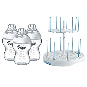 Tommee Tippee Natural 3 Pack Bottles with High Capacity Drying Rack, 9 Ounce