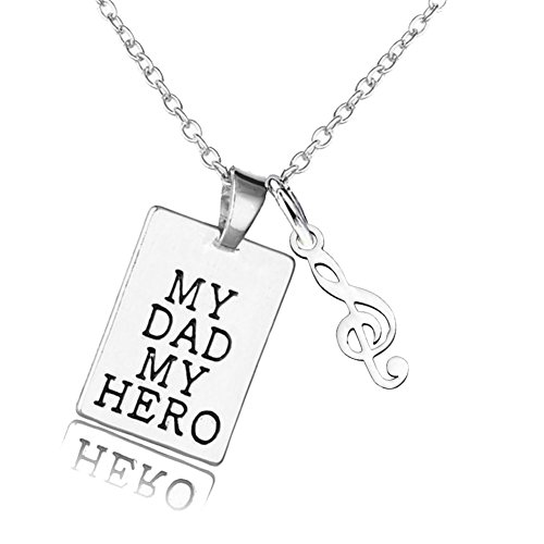 Father's Day Gift My Dad My Hero My Angle Urn Necklace Singer Music Note Pendant for (Happy Halloween Music Notes)