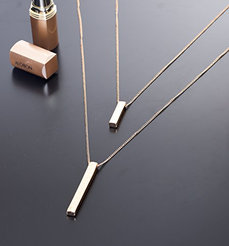 JYJ Long Layered Necklace for Women Bar Pendant Choker Necklace Gold Strands by JYJ (Image #5)