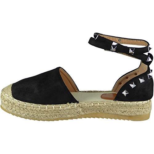 Loud Look Womens Ladies Studded Ankle Strap Espadrilles Shoes Flatform Summer Sandals Size 3-8 Black O8Ns7Y0CKk