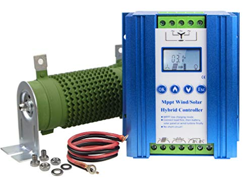 Marsrock Lithium Battery Wind Solar Hybrid Charge Controller with Wind Generator MPPT Boost Charging Function, with Dump Load Device and 50cm Cable, Used for Off Grid Wind Solar Hybrid System