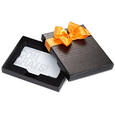 Amazon.com $75 Gift Card in a Black Gift Box (Silver Congrats Card Design)