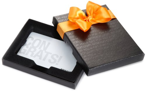 Amazon.com $200 Gift Card in a Black Gift Box (Silver Congrats Card Design)