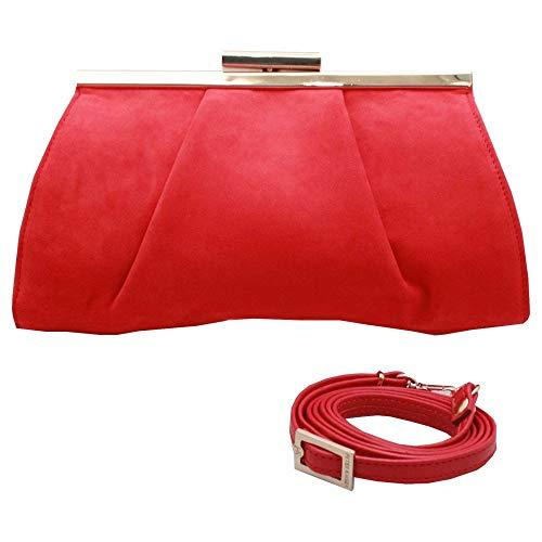 Clasp Red Handbag Suede Likana Clutch Kaiser Framed Close Peter vSwZggq