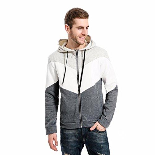 kaiofngfu Hooded,Men Autumn Patchwork Slim Sweater Hooded Shirt Zipper Blouse Outwear Tops (XL, (Seersucker Patchwork)