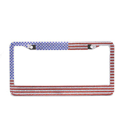 Gold Glitter Jeweled Queens Crown (USA Flag Bling Pure Handmade Waterproof License Plate Frame Holder Rustproof Stainless Steel Metal Chrome Glitter Rhinestones Diamond Crystal Auto License Custom Fastener Lexitek (Us Flag 1 pack))