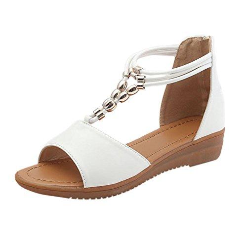 DENER Women Ladies Wedge Sandals,Low Heels Platform Wide Width Arch Support On Sale Shoes (White, 40)