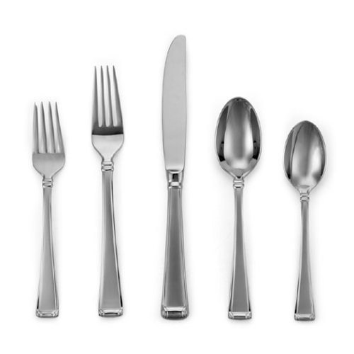 (Gorham Column Frosted Stainless Flatware 5-Piece Place Setting, Service for 1)