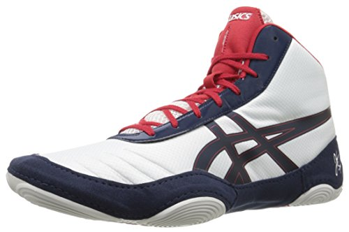 ASICS Men's JB Elite V2.0 Wrestling Shoe, White/Dark Navy/True Red, 4 M US