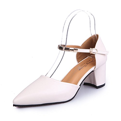 with Package Shoes Heeled with yalanshop Women's and Stylish with 36 Tide Versatile White Baotou Thick High 57qqInr8