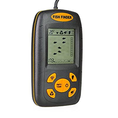 Venterior Portable Fish Finder, Water Depth & Temperature Fishfinder with Wired Sonar Sensor Transducer and LCD Dispaly