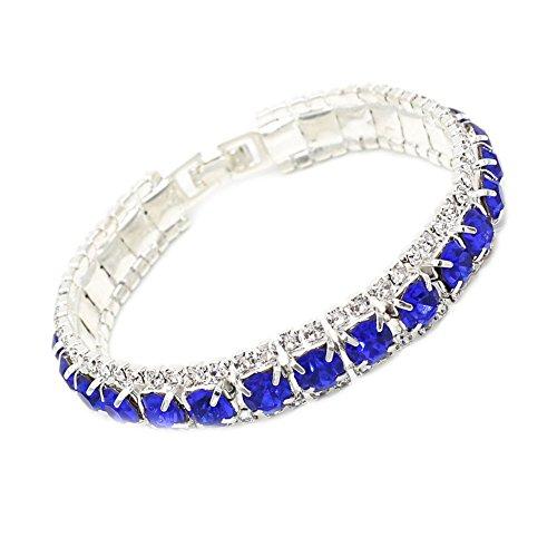 B-JSEA Round Cut Blue Rhinestones 6mm Tennis Bracelet Silver-plated Women Teen Girls