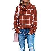 #LightningDeal KIRUNDO 2020 Winter Women's Turtleneck Knit Sweater Long Sleeves Pullover Plaid Side Split Checked Outwear Loose Fit Tops