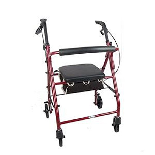 Aluminum Rollator Rolling Walker with Medical Curved Back Soft Seat Light Weight (Burgundy) by Medical Supply Team (Image #1)