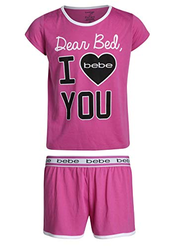 bebe Girls' 2-Piece Sleepwear Set with Shorts and T-Shirt, Magenta/Heart, Size - Heart Magenta
