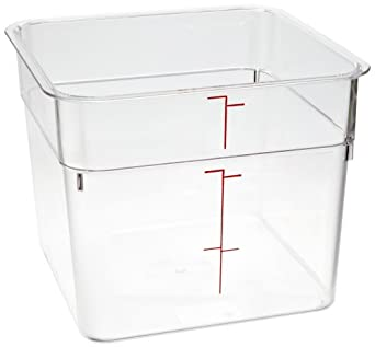 """Cambro 6SFSCW 6 qt Capacity, 8-3/8"""" Length x 8-3/8"""" Width x 7-1/4"""" Height, CamSquares Camwear Clear Polycarbonate Food Storage Container (Cover Sold Separately)"""