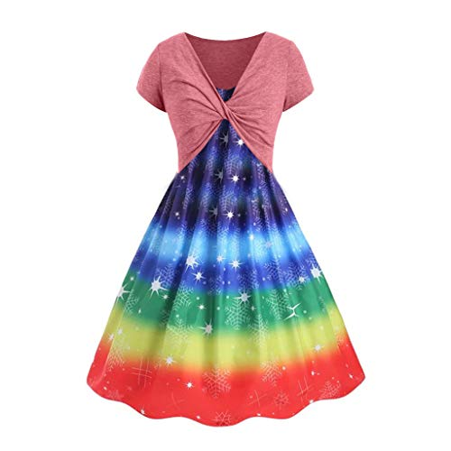 Sexy Cami Dress for Women Short Sleeve Bow Knot Bandage T Shirt Sunflower Print Smock Swing Dress Suits