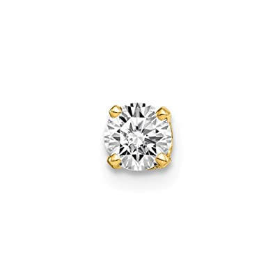 a24cf995d3245 14ct Yellow Gold Polished Post Earrings Single Stud Diamond Earrings ...