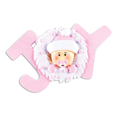 (Personalized Joy Baby Christmas Ornament - Cute Girl in Pink Hat Mittens in White Glitter Wreath - First New Mom Shower Born 1st Gift Nursery Grand-Daughter Kid - Free Customization (Pink))
